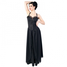 Aderlass Robe Gothique Punk Long Dress Pin Stripe