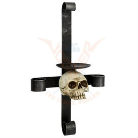 Bougeoir Gothique Metal Cross with Skull 766-6966