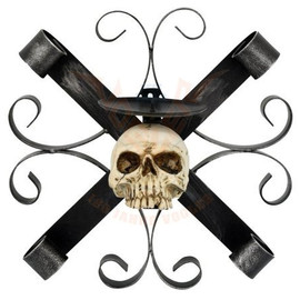 Bougeoir Gothique Metal Cross with Skull 766-6967