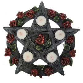 bougeoir gothique pentagram rose