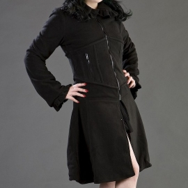 BURLESKA - Manteau Gothique Burleska Fatal Black Fleece