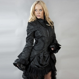 BURLESKA - Manteau Gothique Burleska Pirate Black Scroll Brocade