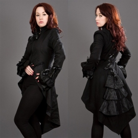 BURLESKA - Manteau Gothique Burleska Pirate Black Twill
