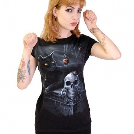 Darkside Tshirt Gothique Black Cat
