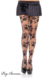 Leg Avenue Collant Gothique Black Roses