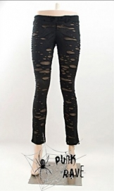 legging gothique punk rave ripped off black