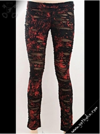 legging gothique punk rave ripped off red