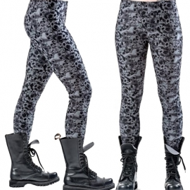legging gothique queen of darkness grey skulls and roses