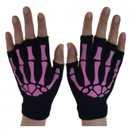 Mitaines Gothiques Pink Skeleton Fingers