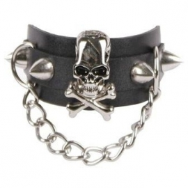 Queen of Darkness Bracelet Gothique Skull & X-Bones ALE-296