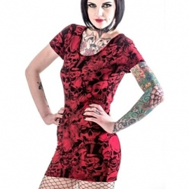 robe gothique queen of darkness red skulls