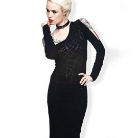 robe gothique spider web queen of darkness