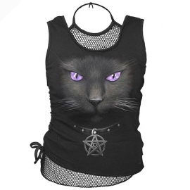 T-shirt gothique avec Filet spiral direct black cat