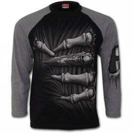 Spiral Direct Death Grip T-Shirt Spiral Direct T-Shirt Gothique Manches Longues Noir et Gris