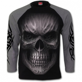 Spiral Direct Death Rage T-Shirt Spiral Direct T-Shirt Gothique Manches Longues Noir et Gris